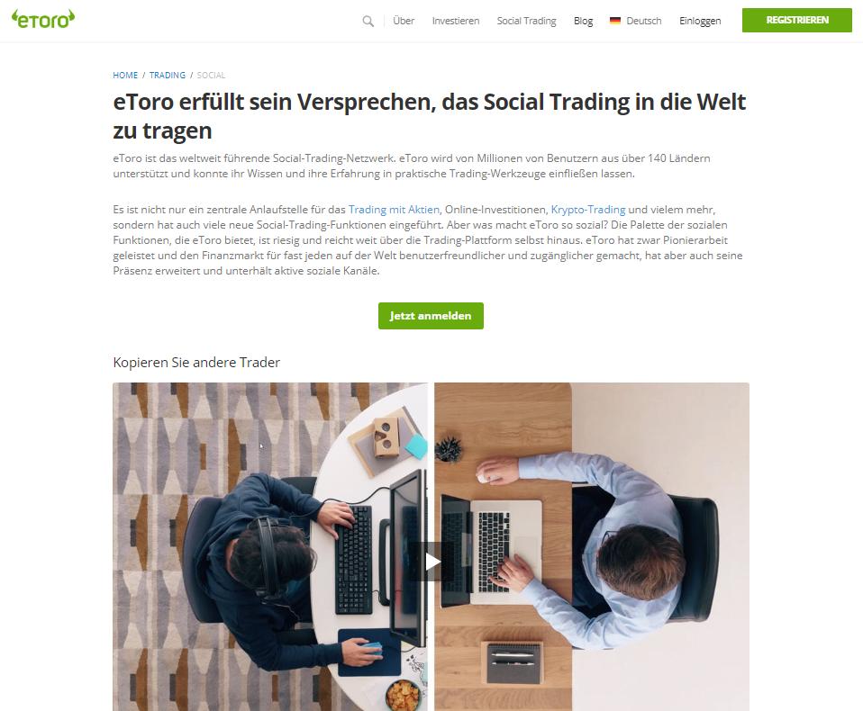 eToro Social Trading Plattform Screenshot